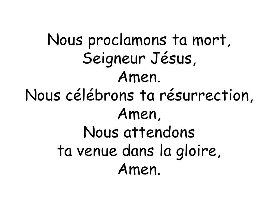 Nous proclamons ta mort, Seigneur Jésus, Amen.