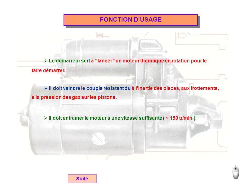 FONCTION D'USAGE Suite  Le démarreur sert à ''lancer'' un moteur thermique en rotation pour le faire démarrer.  Il doit vaincre le couple résistant