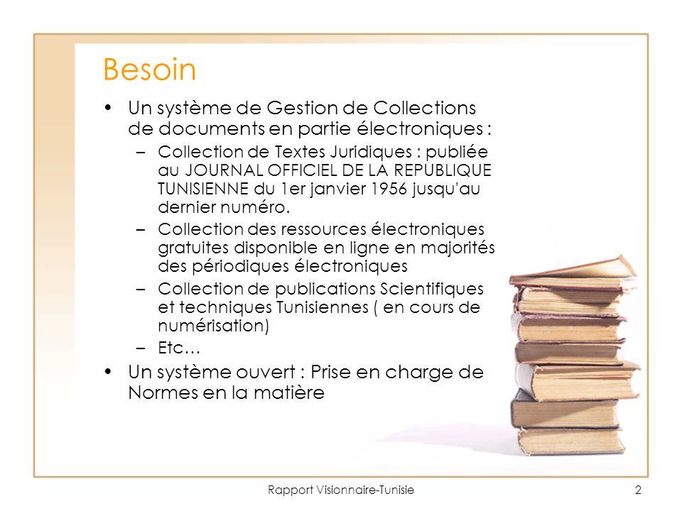 Rapport Visionnaire-Tunisie2 Besoin Un système de Gestion de Collections de documents en partie électroniques : –Collection de Textes Juridiques : publiée au JOURNAL OFFICIEL DE LA REPUBLIQUE TUNISIENNE du 1er janvier 1956 jusqu au dernier numéro.