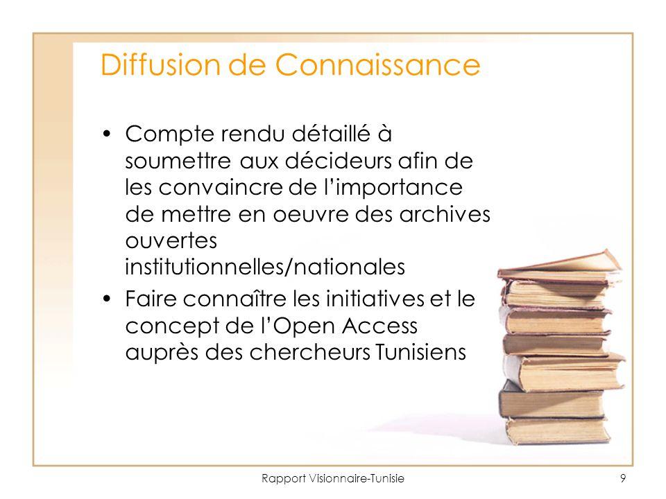 Rapport Visionnaire-Tunisie9 Diffusion de Connaissance Compte rendu détaillé à soumettre aux décideurs afin de les convaincre de l'importance de mettre en oeuvre des archives ouvertes institutionnelles/nationales Faire connaître les initiatives et le concept de l'Open Access auprès des chercheurs Tunisiens