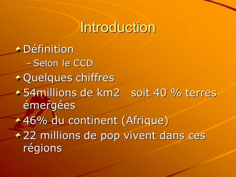 Introduction Définition –Selon le CCD Quelques chiffres 54millions de km2 soit 40 % terres émergées 46% du continent (Afrique) 22 millions de pop vivent dans ces régions