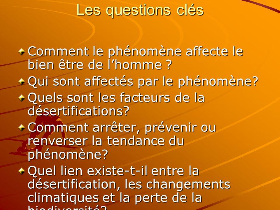 Les questions clés Comment le phénomène affecte le bien être de l'homme .