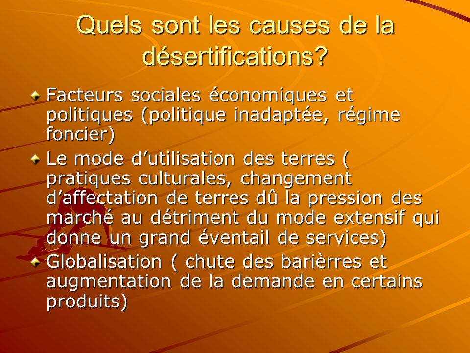 Quels sont les causes de la désertifications.