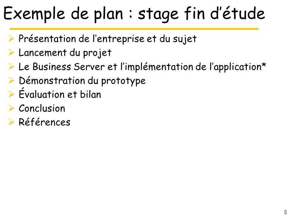 5 Exemple de plan : stage fin d'étude  Présentation de l'entreprise et du sujet  Lancement du projet  Le Business Server et l'implémentation de l'application*  Démonstration du prototype  Évaluation et bilan  Conclusion  Références
