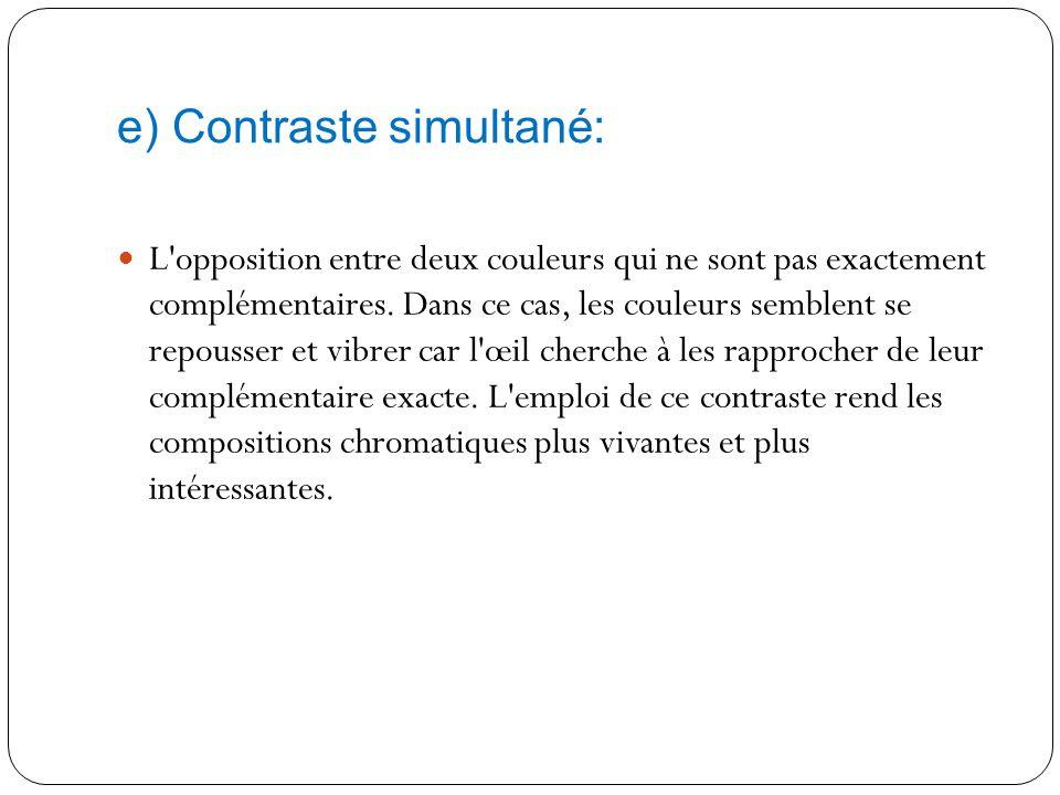 d) Contraste des complémentaires: C'est l'opposition entre les couleurs diamétralement opposées sur le cercle chromatique