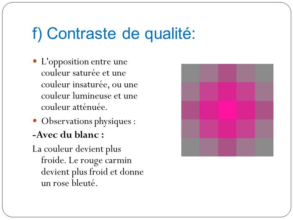 e) Contraste simultané: L'opposition entre deux couleurs qui ne sont pas exactement complémentaires. Dans ce cas, les couleurs semblent se repousser e