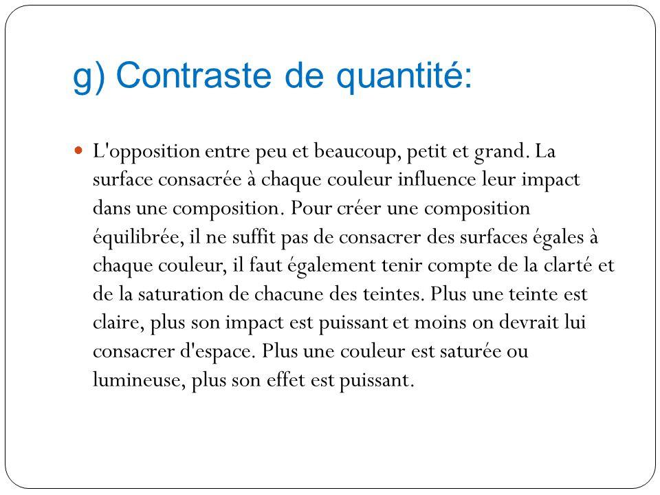 f) Contraste de qualité: L'opposition entre une couleur saturée et une couleur insaturée, ou une couleur lumineuse et une couleur atténuée. Observatio