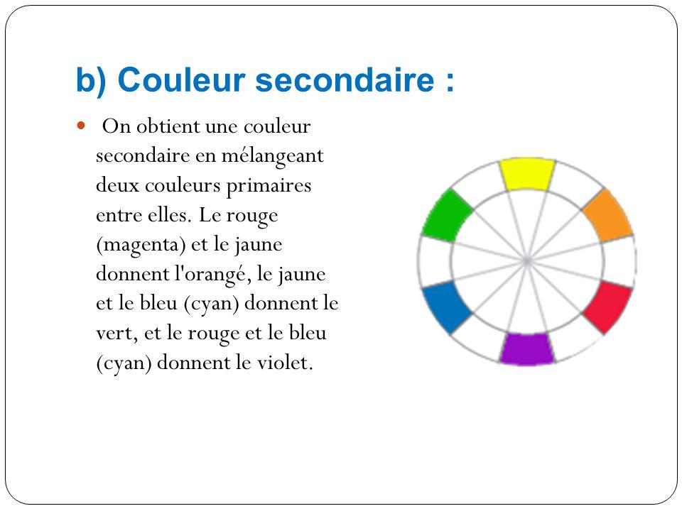 A) Couleur primaire : Une couleur primaire ne peut pas être créée par le mélange d'autres couleurs. En mélangeant les couleurs primaires entre elles,