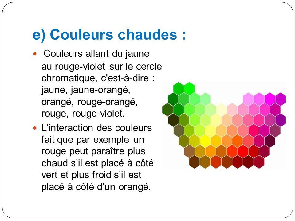 d) Couleurs complémentaires : Les couleurs complémentaires sont celles qui se trouvent opposées dans le cercle chromatique. Par exemple, la couleur co