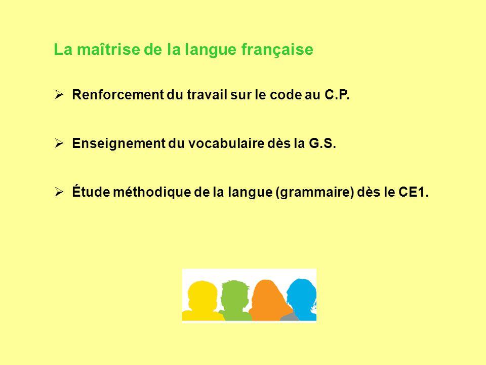 La maîtrise de la langue française  Renforcement du travail sur le code au C.P.