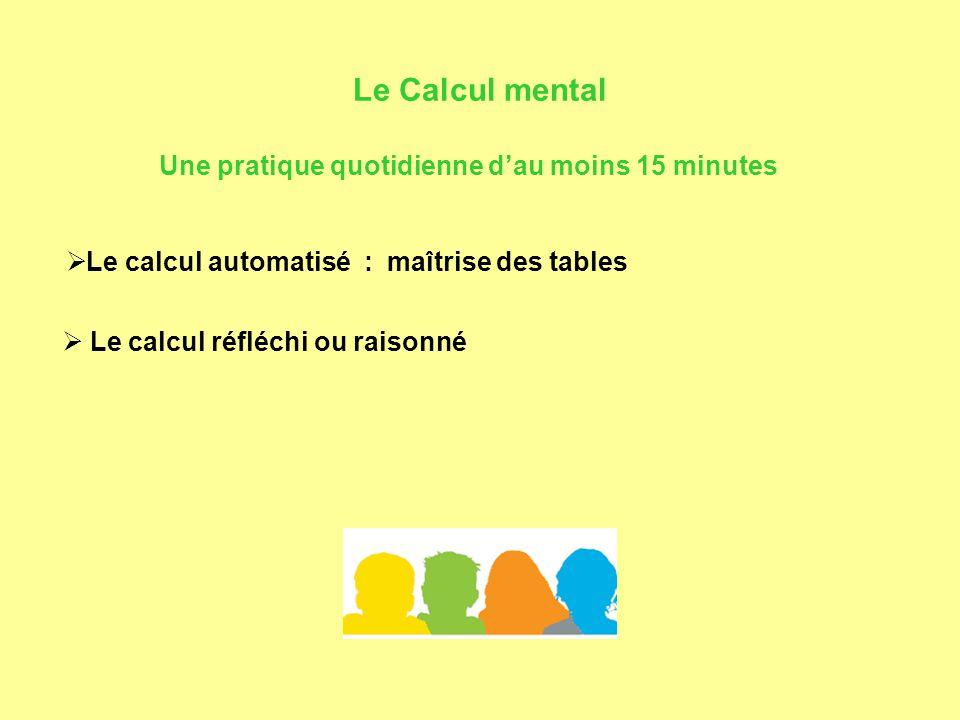 Le Calcul mental  Le calcul automatisé : maîtrise des tables  Le calcul réfléchi ou raisonné Une pratique quotidienne d'au moins 15 minutes