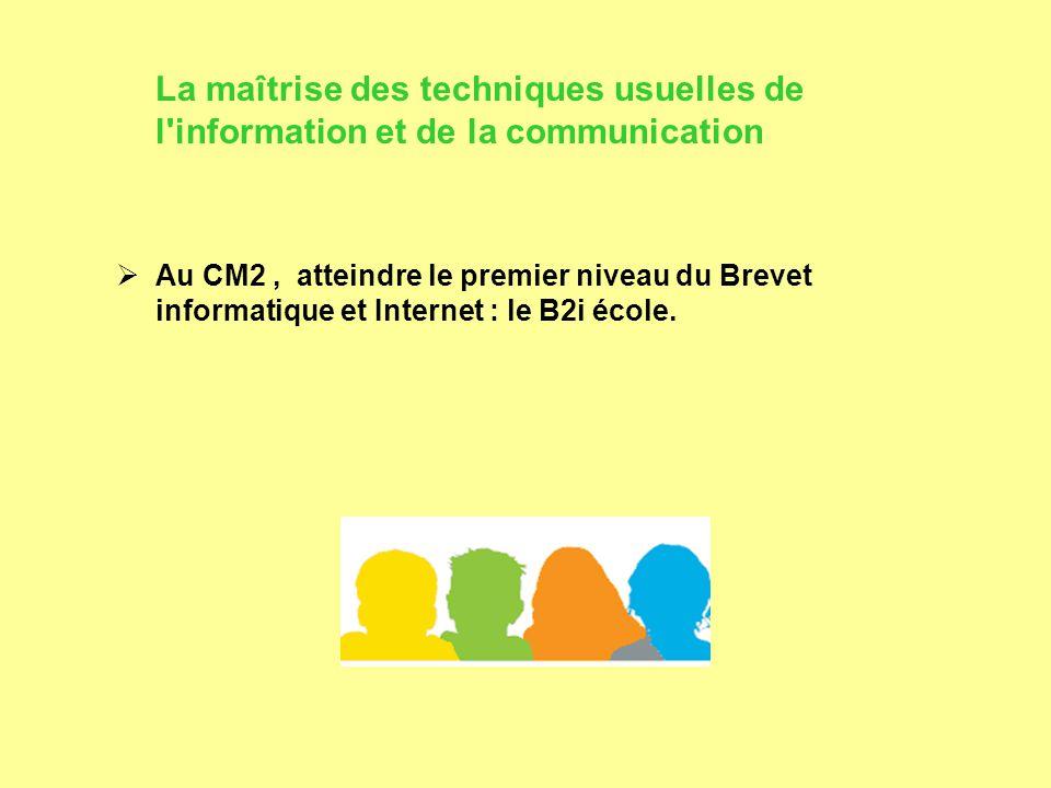 La maîtrise des techniques usuelles de l information et de la communication  Au CM2, atteindre le premier niveau du Brevet informatique et Internet : le B2i école.
