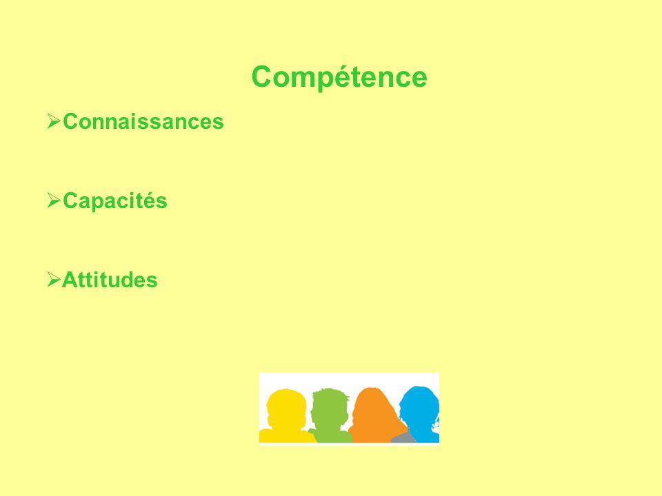 Compétence  Connaissances  Capacités  Attitudes