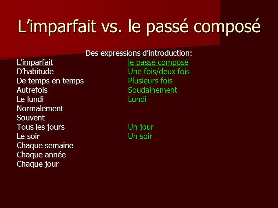 L'imparfait vs. le passé composé Des expressions d'introduction: L'imparfaitle passé composé D'habitudeUne fois/deux fois De temps en tempsPlusieurs f