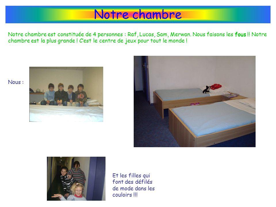 Notre chambre Notre chambre est constituée de 4 personnes : Raf, Lucas, Sam, Merwan.