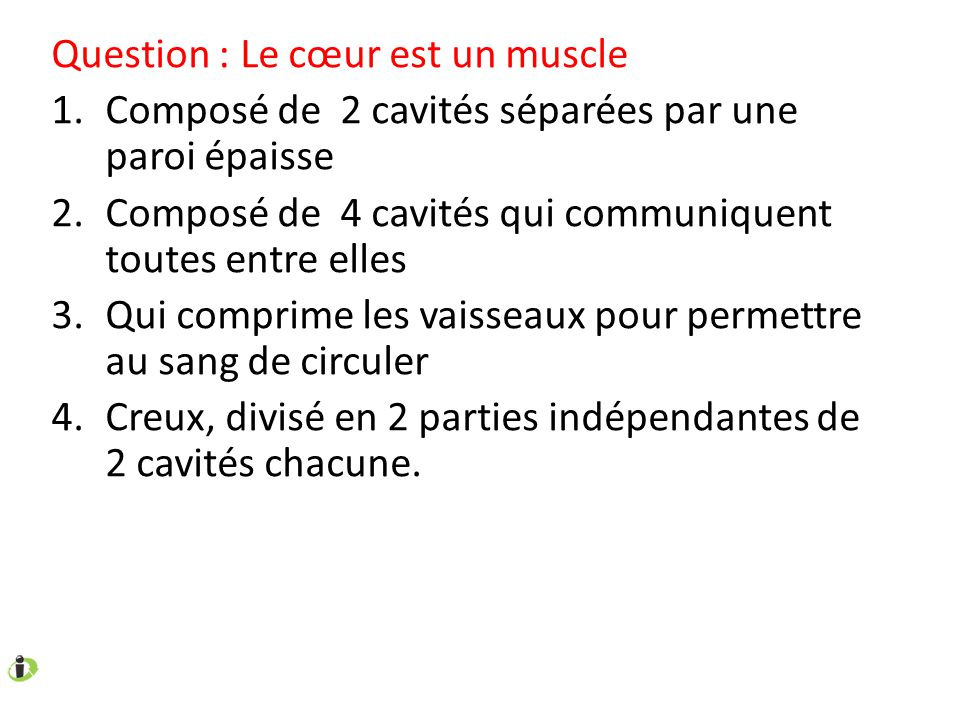 Question : Trouvez parmi ces fréquences cardiaques au repos, celle(s) du ou des individus sportifs.
