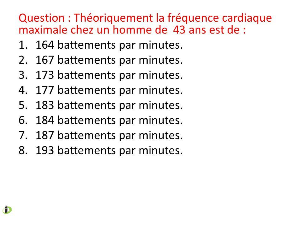 Question : Théoriquement la fréquence cardiaque maximale chez un homme de 43 ans est de : 1.164 battements par minutes. 2.167 battements par minutes.