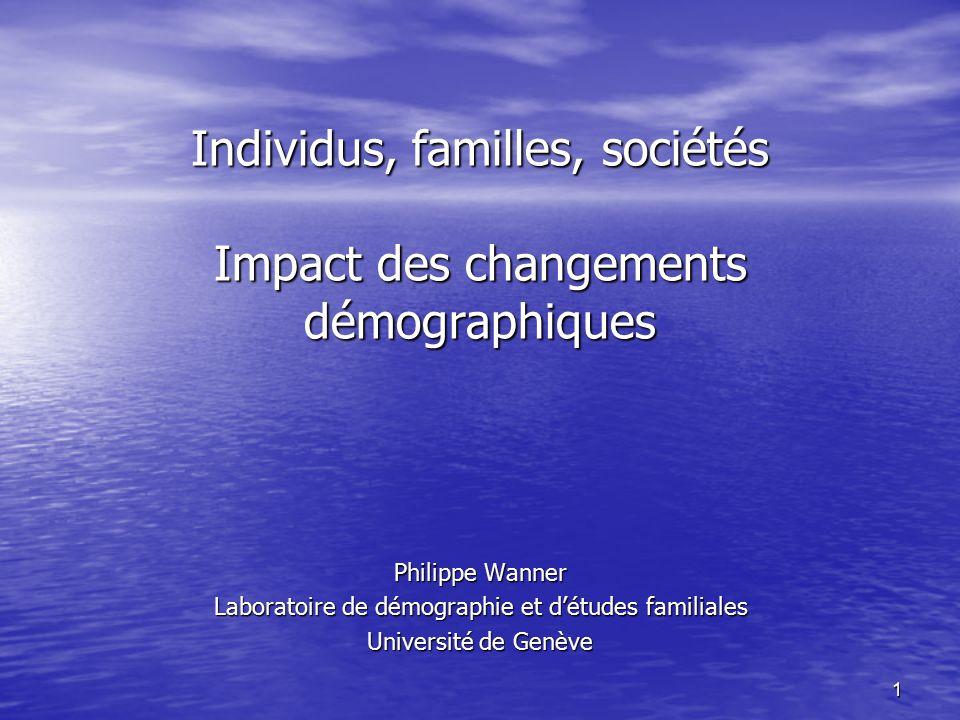 1 Individus, familles, sociétés Impact des changements démographiques Philippe Wanner Laboratoire de démographie et d'études familiales Université de Genève