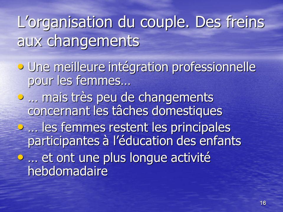 16 L'organisation du couple.