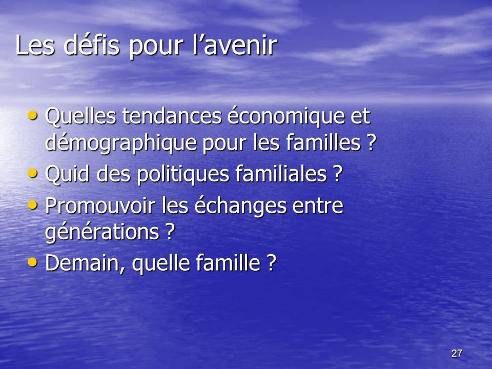 27 Les défis pour l'avenir Quelles tendances économique et démographique pour les familles .