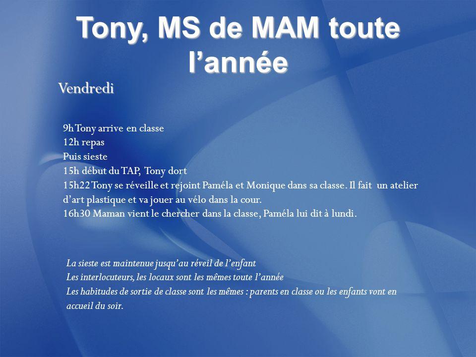 Tony, MS de MAM toute l'année Vendredi Vendredi 9h Tony arrive en classe 12h repas Puis sieste 15h début du TAP, Tony dort 15h22 Tony se réveille et rejoint Paméla et Monique dans sa classe.