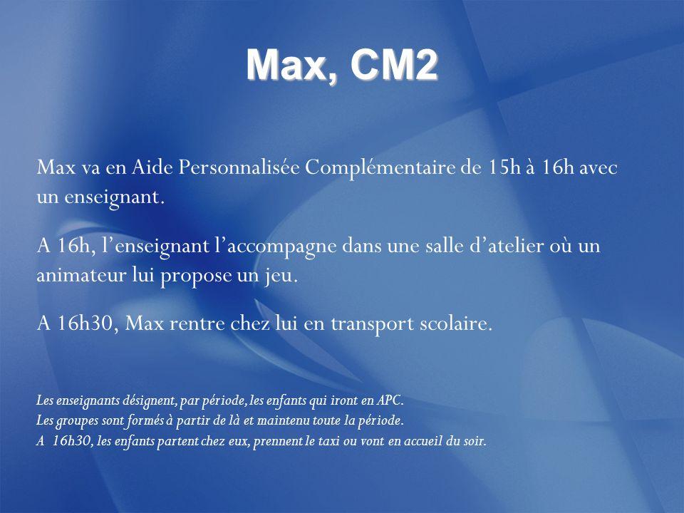 Max, CM2 Max va en Aide Personnalisée Complémentaire de 15h à 16h avec un enseignant.