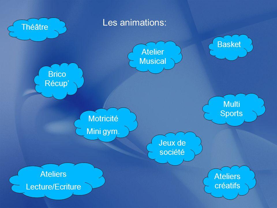 Les animations: Théâtre Basket Brico Récup' Multi Sports Atelier Musical Ateliers Lecture/Ecriture Ateliers créatifs Jeux de société Motricité Mini gym.