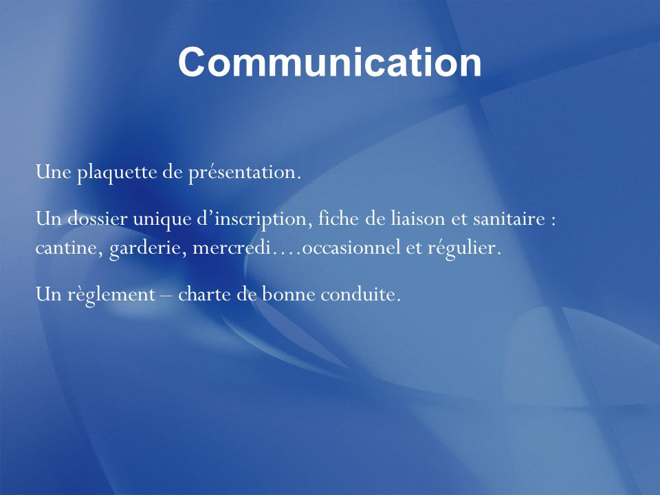 Communication Une plaquette de présentation.