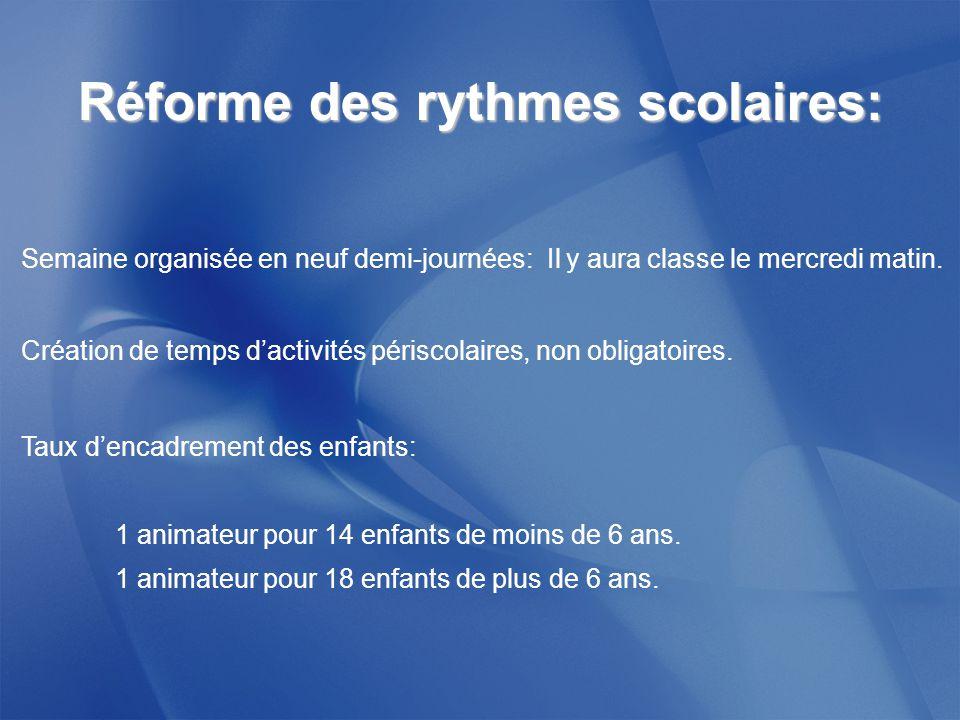Réforme des rythmes scolaires: Semaine organisée en neuf demi-journées: Il y aura classe le mercredi matin.