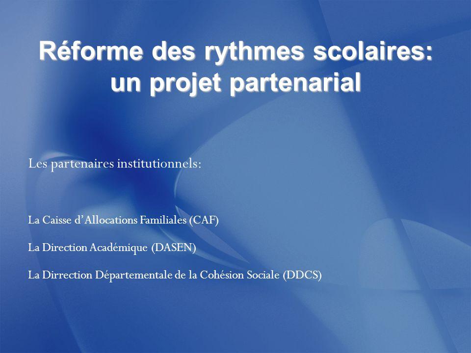 Réforme des rythmes scolaires: un projet partenarial Les partenaires institutionnels: La Caisse d'Allocations Familiales (CAF) La Direction Académique (DASEN) La Dirrection Départementale de la Cohésion Sociale (DDCS)