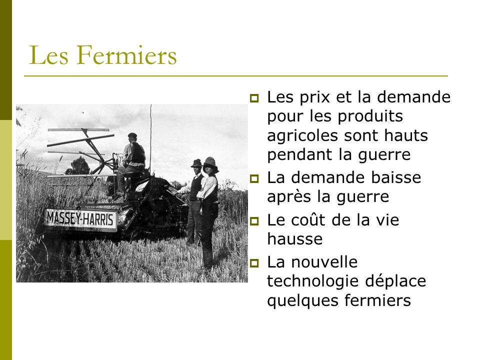 Les Fermiers  Les prix et la demande pour les produits agricoles sont hauts pendant la guerre  La demande baisse après la guerre  Le coût de la vie hausse  La nouvelle technologie déplace quelques fermiers