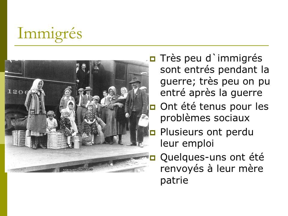 Immigrés  Très peu d`immigrés sont entrés pendant la guerre; très peu on pu entré après la guerre  Ont été tenus pour les problèmes sociaux  Plusieurs ont perdu leur emploi  Quelques-uns ont été renvoyés à leur mère patrie