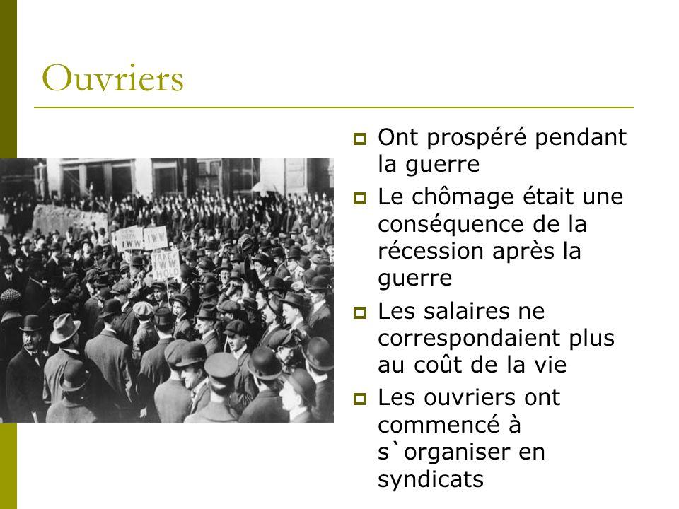 Ouvriers  Ont prospéré pendant la guerre  Le chômage était une conséquence de la récession après la guerre  Les salaires ne correspondaient plus au coût de la vie  Les ouvriers ont commencé à s`organiser en syndicats