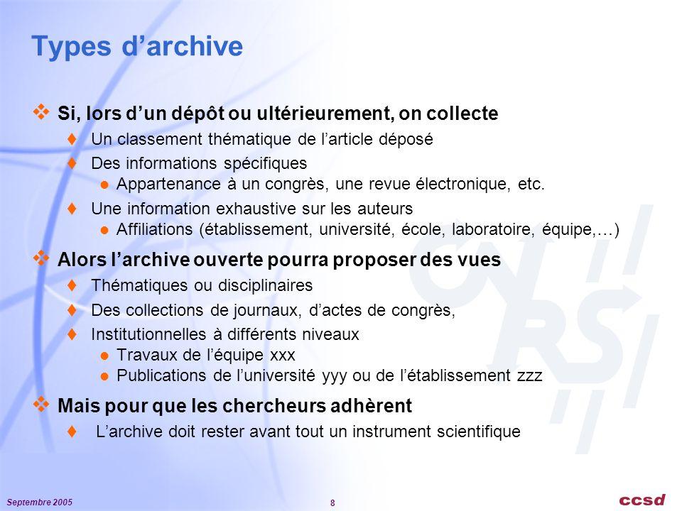 Septembre 2005 8 Types d'archive  Si, lors d'un dépôt ou ultérieurement, on collecte  Un classement thématique de l'article déposé  Des informations spécifiques Appartenance à un congrès, une revue électronique, etc.