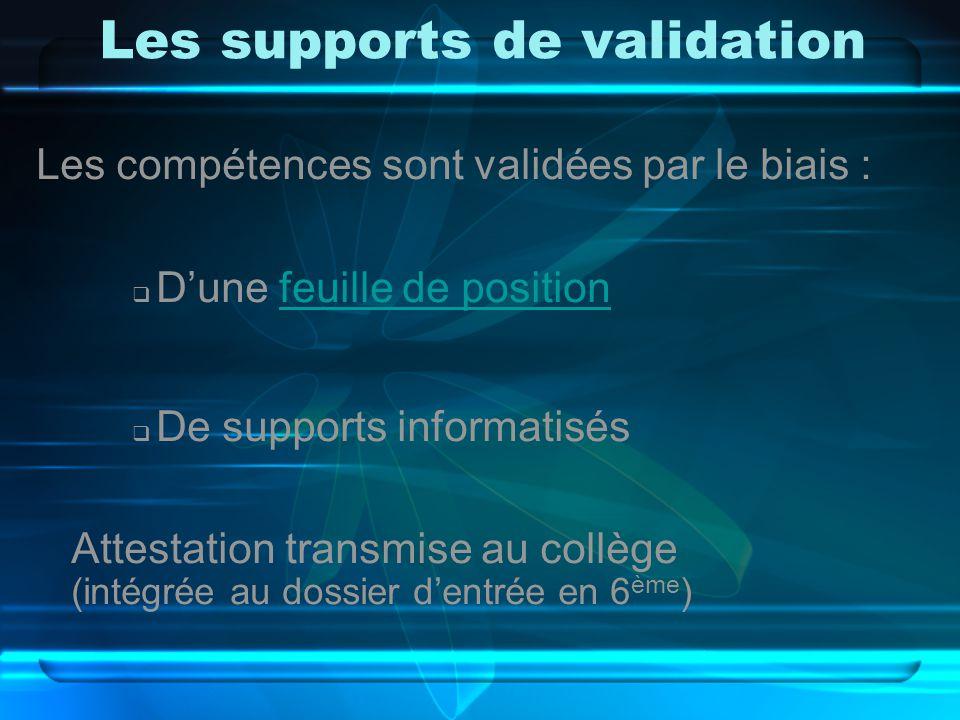 Les supports de validation Les compétences sont validées par le biais :  D'une feuille de positionfeuille de position  De supports informatisés Attestation transmise au collège (intégrée au dossier d'entrée en 6 ème )