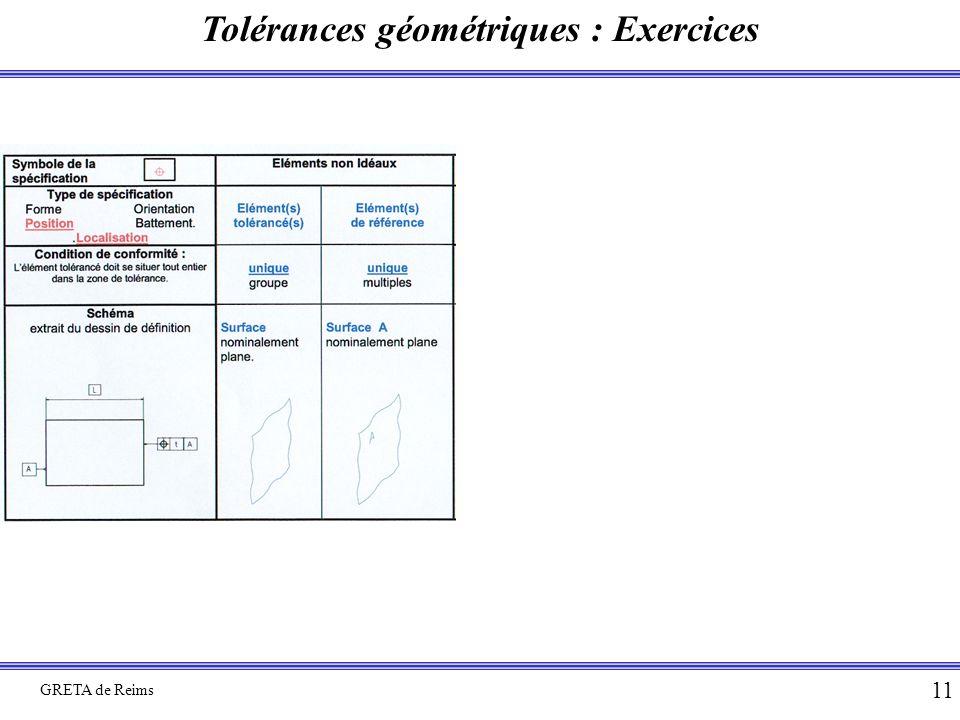 Tolérances géométriques : Exercices GRETA de Reims 11