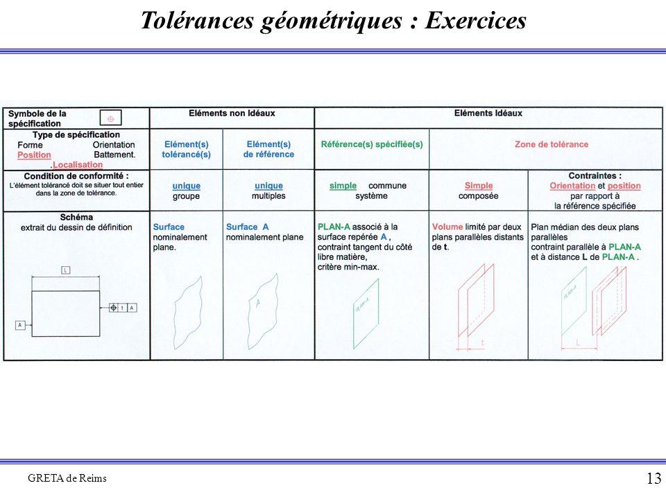 Tolérances géométriques : Exercices GRETA de Reims 13