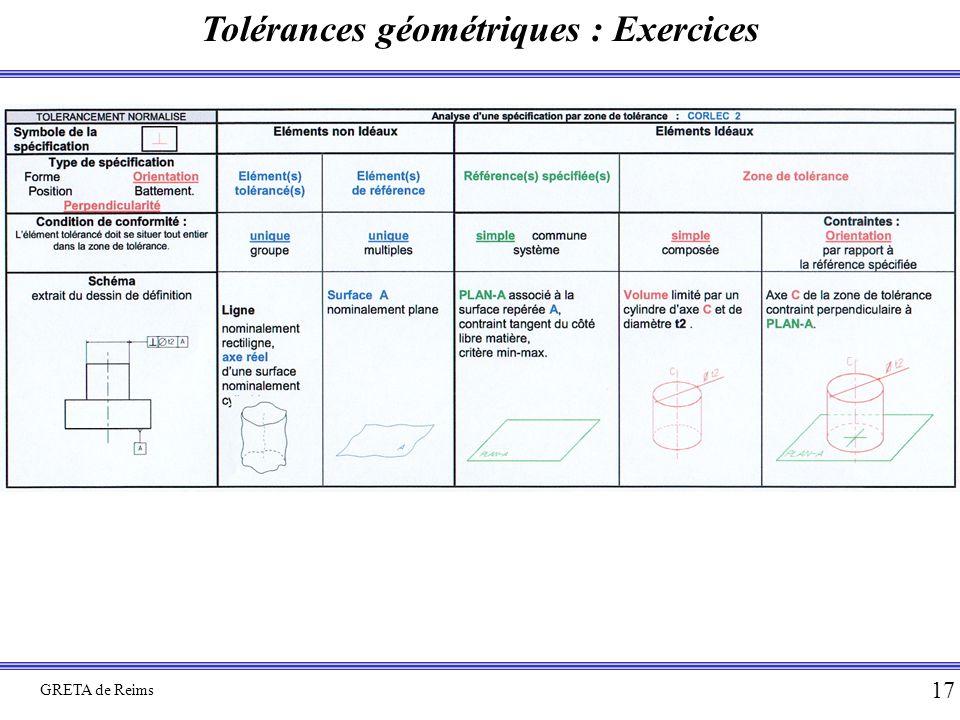 Tolérances géométriques : Exercices GRETA de Reims 17