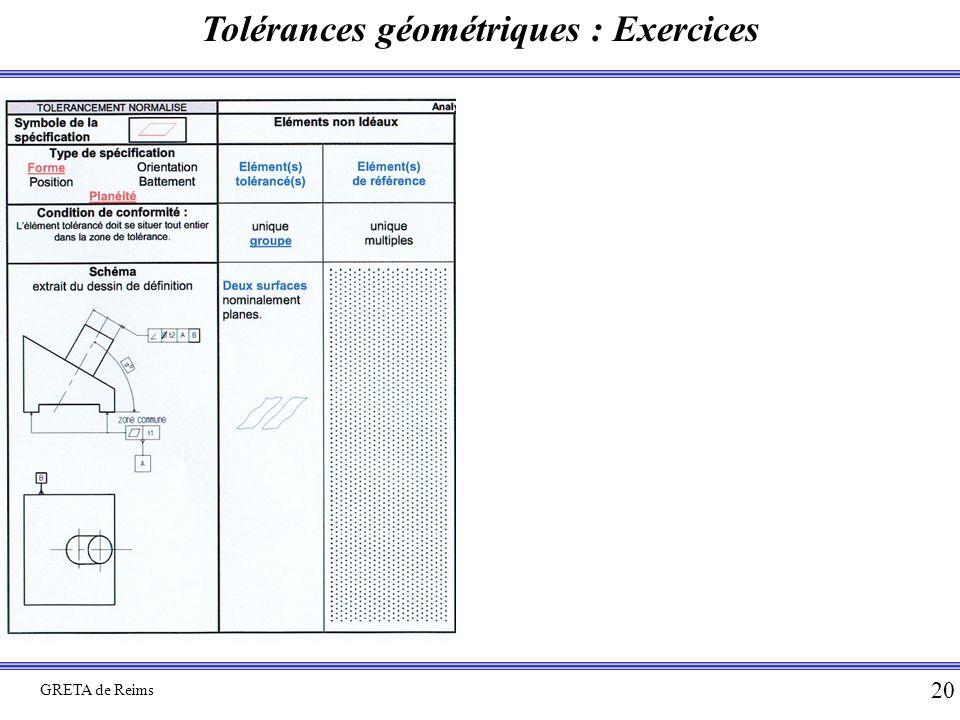 Tolérances géométriques : Exercices GRETA de Reims 20
