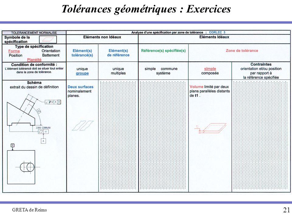 Tolérances géométriques : Exercices GRETA de Reims 21