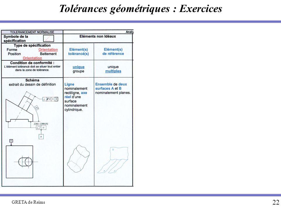Tolérances géométriques : Exercices GRETA de Reims 22