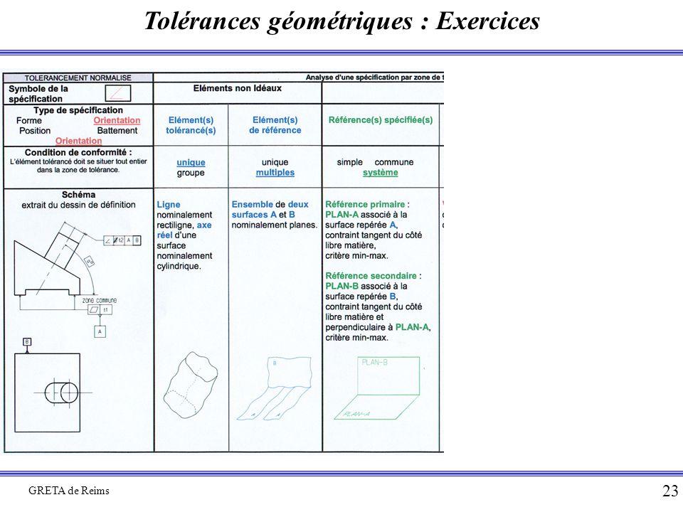 Tolérances géométriques : Exercices GRETA de Reims 23