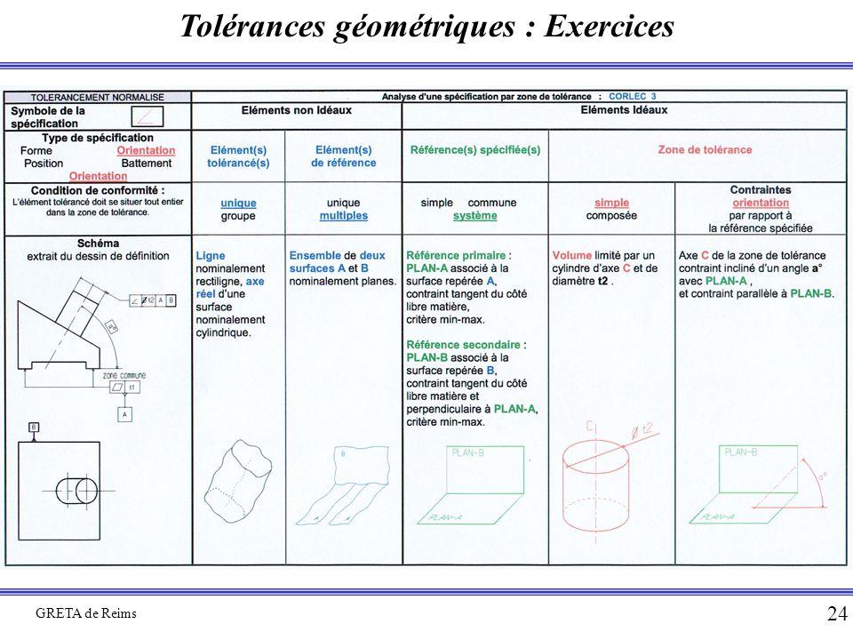 Tolérances géométriques : Exercices GRETA de Reims 24