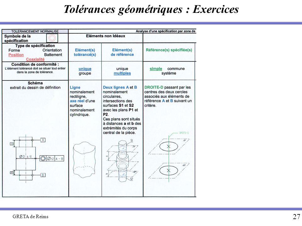 Tolérances géométriques : Exercices GRETA de Reims 27