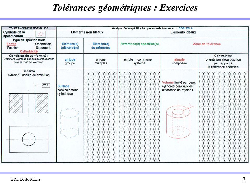 Tolérances géométriques : Exercices GRETA de Reims 3