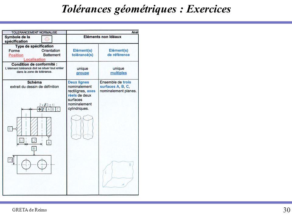 Tolérances géométriques : Exercices GRETA de Reims 30