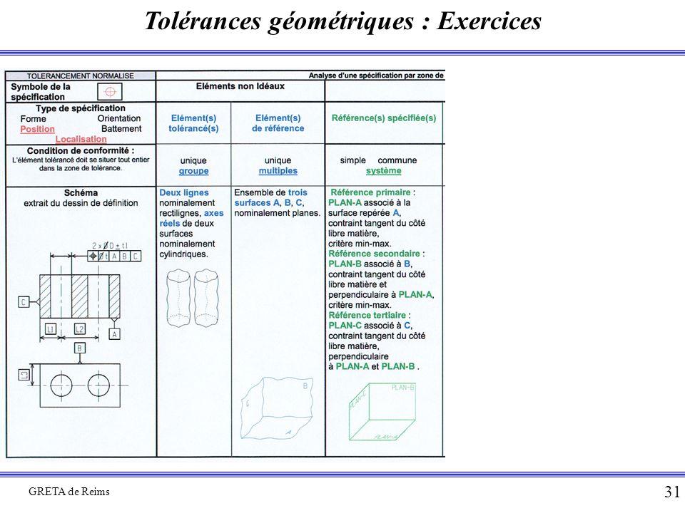 Tolérances géométriques : Exercices GRETA de Reims 31