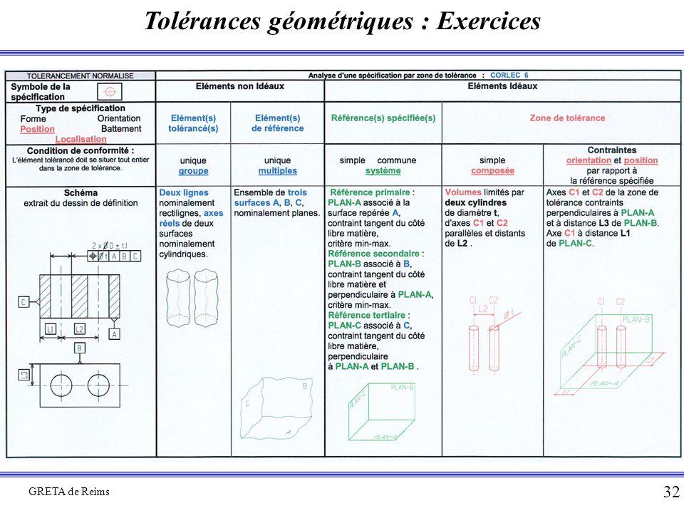 Tolérances géométriques : Exercices GRETA de Reims 32