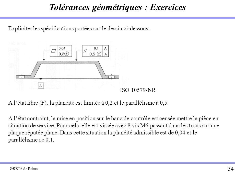 Tolérances géométriques : Exercices GRETA de Reims 34 Expliciter les spécifications portées sur le dessin ci-dessous. ISO 10579-NR A l'état libre (F),