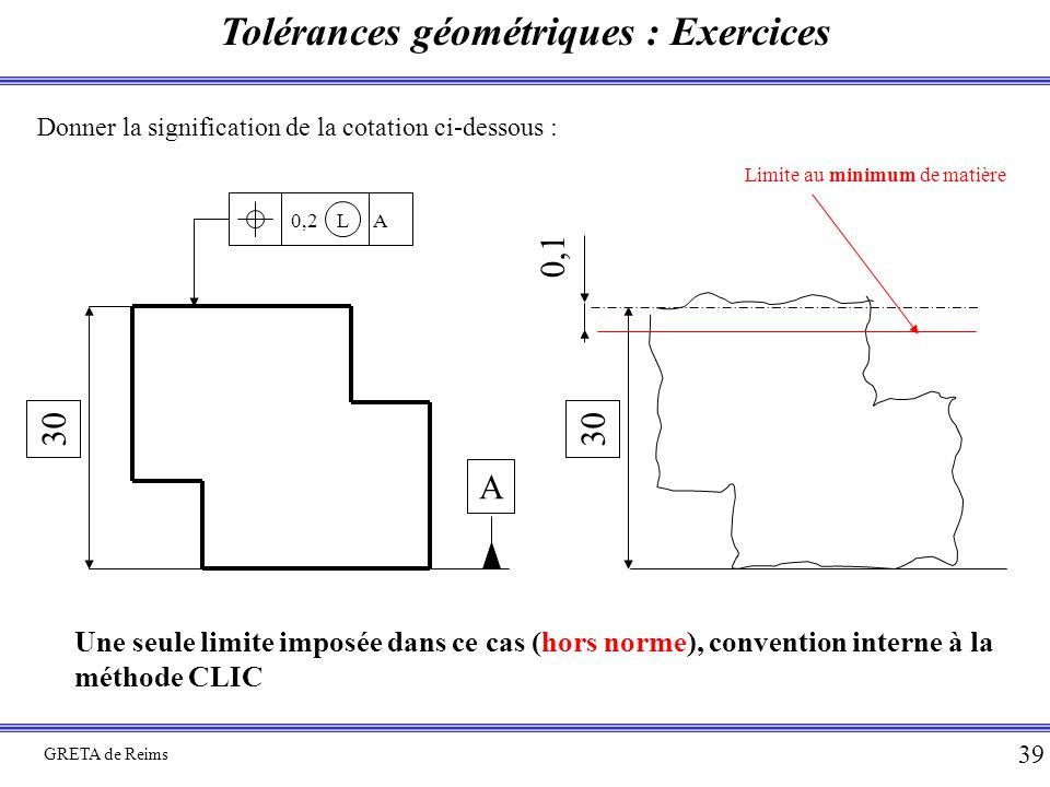 Tolérances géométriques : Exercices GRETA de Reims 39 Donner la signification de la cotation ci-dessous : 30 0,2 L A A 30 0,1 Limite au minimum de mat